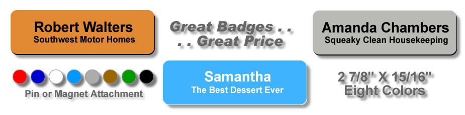Plastic Engraved Name Tags, Plastic Name Badges, Name Badges