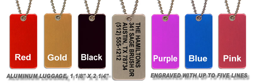 aa9e4e42b2ec Metal Luggage Tags | Custom Metal Luggage Tags | Shipping Included